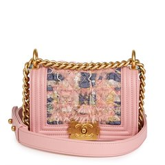 Chanel Pink Lambskin & Multicolour Woven Fabric Mini Le Boy