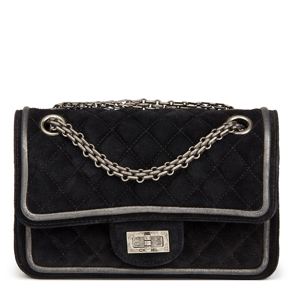 5ea0d9aaacc3 Chanel Black Suede & Metallic Calfskin Quilted 2.55 Reissue 224 Double Flap  Bag