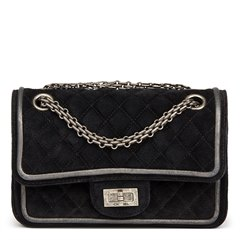 Chanel Black Suede & Metallic Calfskin Quilted 2.55 Reissue 224 Double Flap Bag