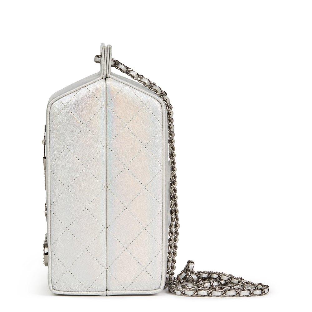 d97b3aed4061 Chanel Silver Iridescent Goatskin Leather Lait De Coco Milk Carton Bag