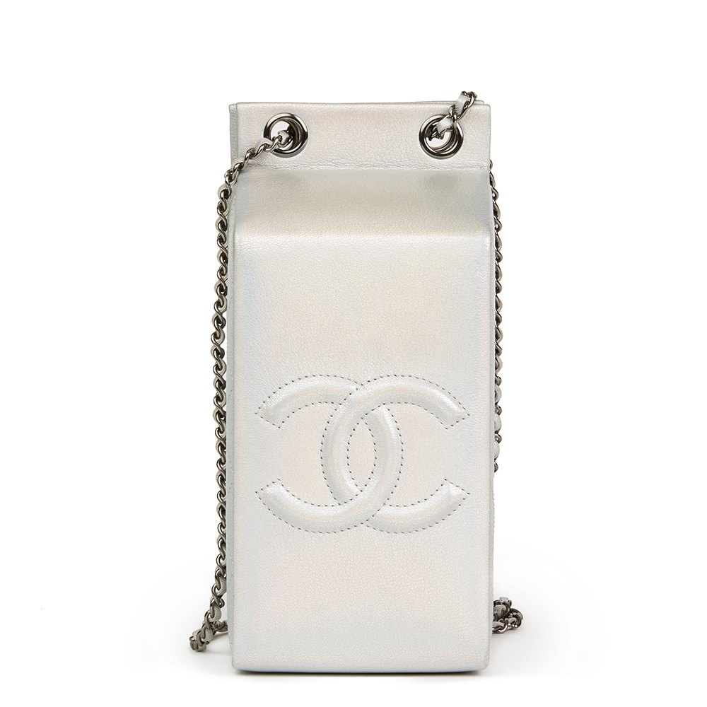 35d4aa0c75 Chanel Silver Iridescent Goatskin Leather Lait De Coco Milk Carton Bag