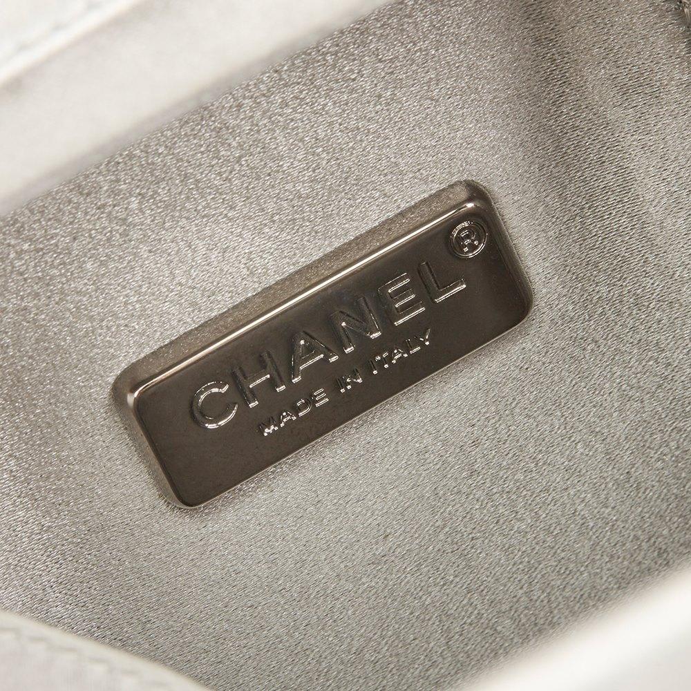 Silver Iridescent Goatskin Leather Lait De Coco Milk Carton Bag