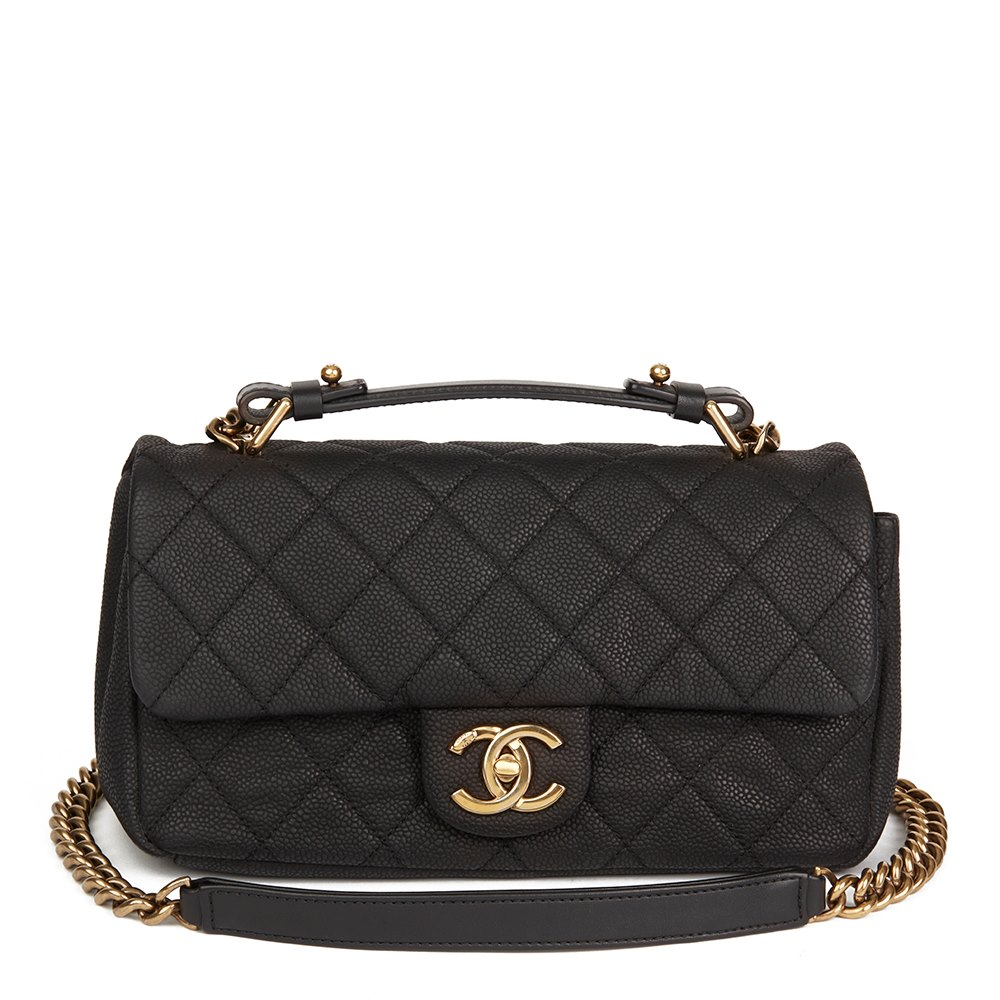 c00e01dcb95c Chanel Black Quilted Matte Caviar Leather Globe Trotter Flap Bag