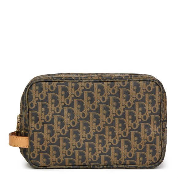 Christian Dior Brown Monogram Coated Canvas Pouch
