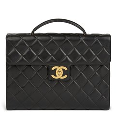 Chanel Black Quilted Lambskin Vintage Jumbo XL Classic Briefcase