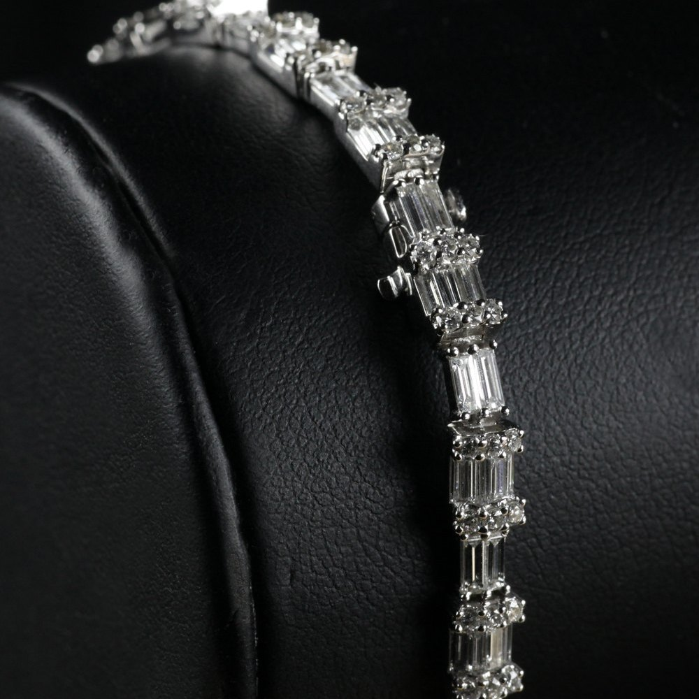 18k White Gold 18K White Gold 6.88 cts VS Baguette Diamond Tennis Bracelet