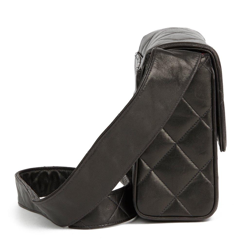 eea4deb2d3e3 Chanel Black Quilted Lambskin Vintage Leather Logo Shoulder Flap Bag