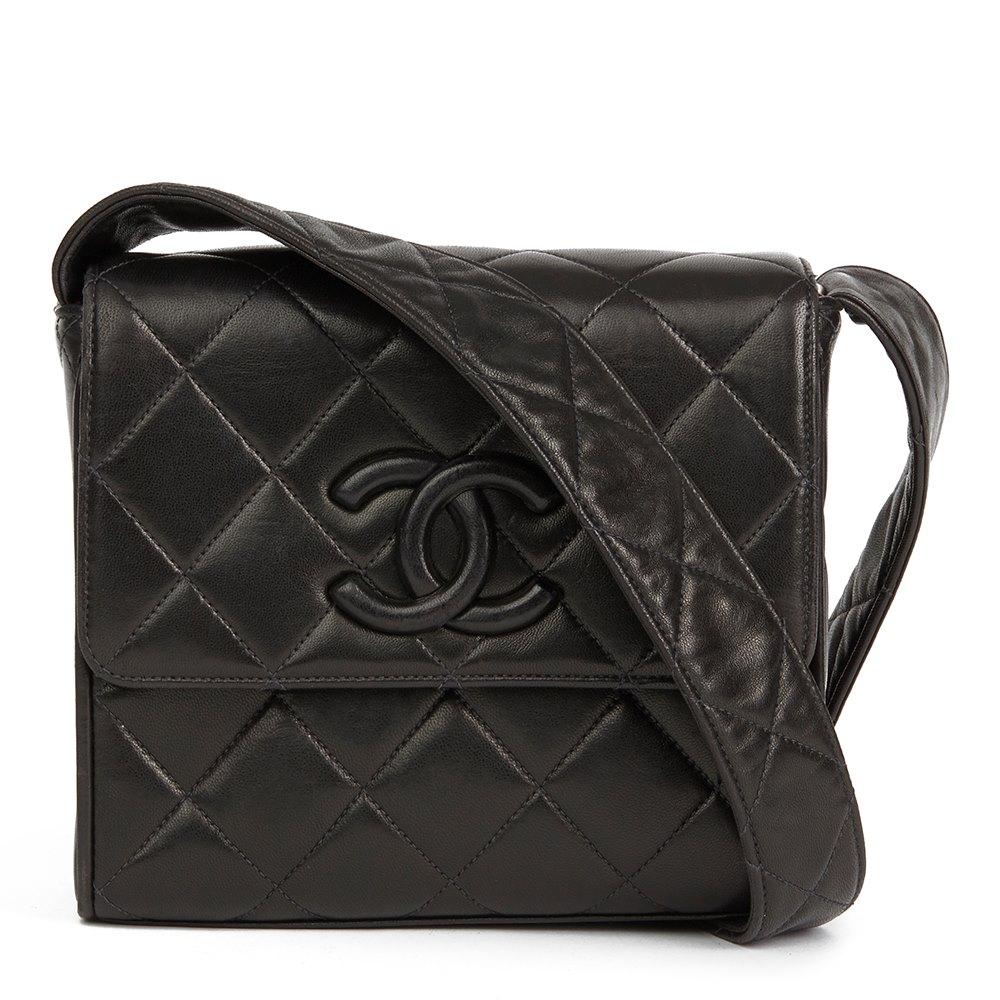 Chanel Black Quilted Lambskin Vintage Leather Logo Shoulder Flap Bag 52c559e8b20d8