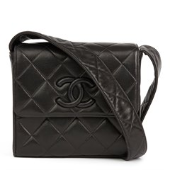Chanel Black Quilted Lambskin Vintage Leather Logo Shoulder Flap Bag