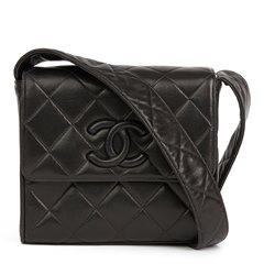 Chanel Black Quilted Lambskin Vintage Leather Logo Shoulder Flap Bag