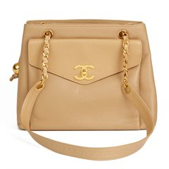 Chanel Beige Caviar Leather Vintage Classic Shoulder Bag