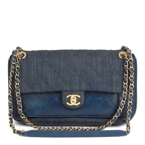 Chanel Blue Quilted Denim & Blue Calfskin Leather Single Flap Bag