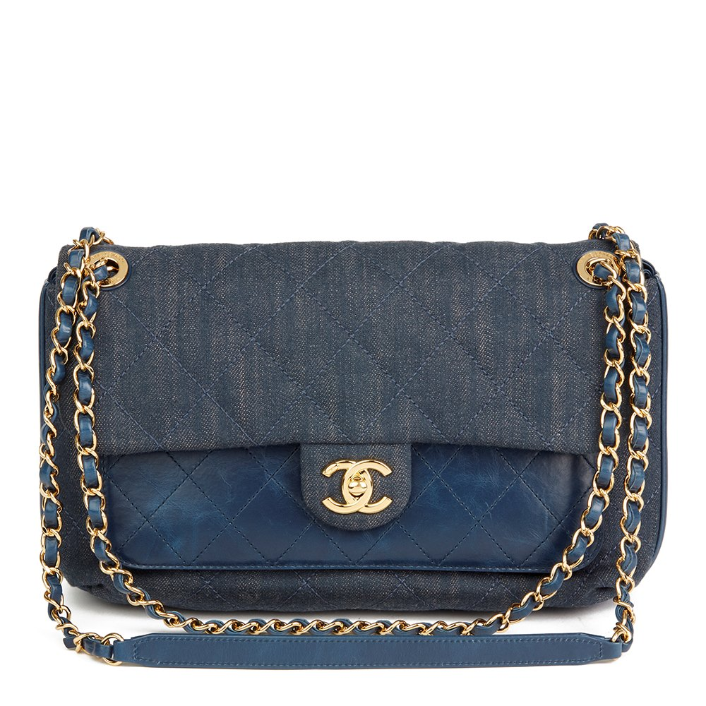 64766d14b0f6 Chanel Blue Quilted Denim   Blue Calfskin Leather Single Flap Bag
