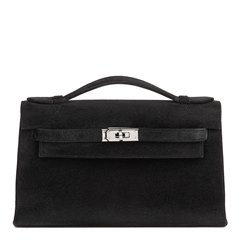 Hermès Black Veau Doblis Kelly Pochette