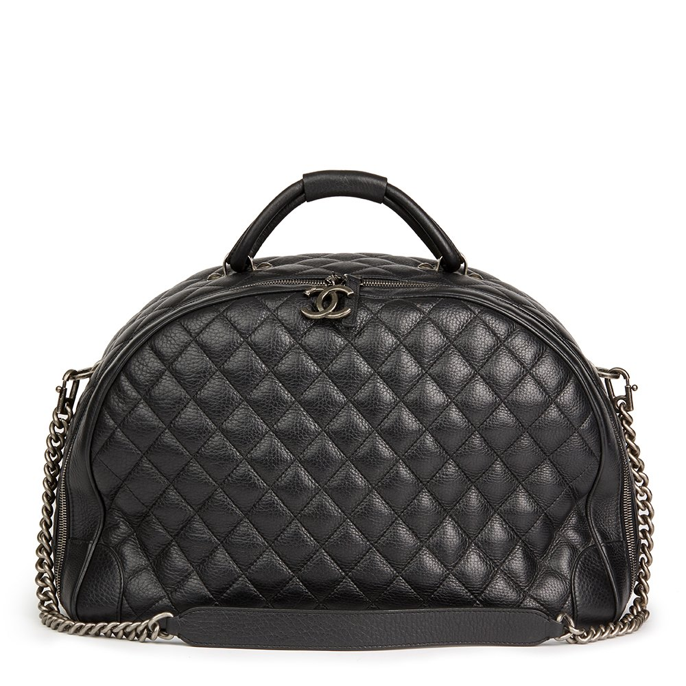 Black Quilted Calfskin Large Round Trip Bowling Bag