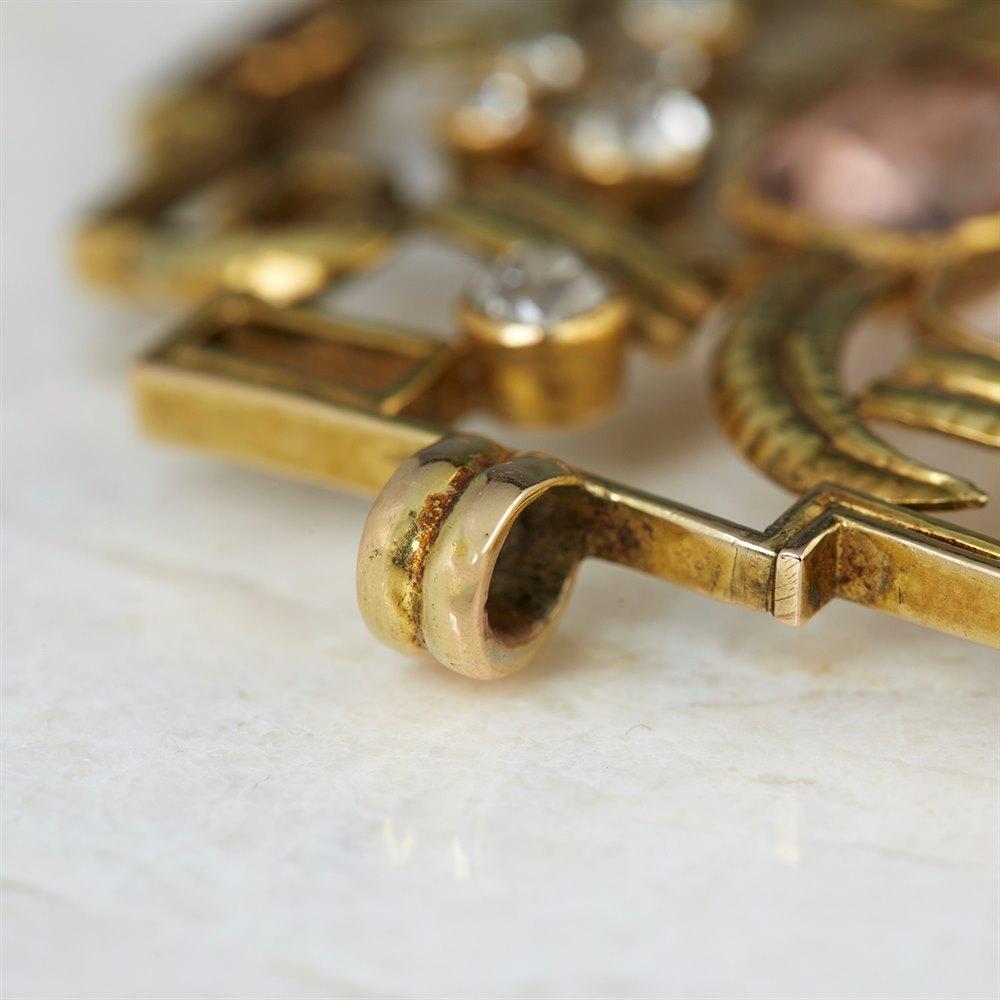 Wiener Werkstätte 14k Yellow Gold Topaz, Diamond & Ruby Pendant
