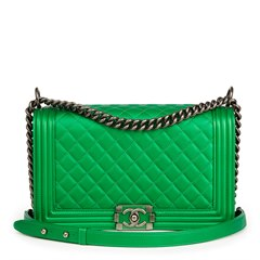 Chanel Green Quilted Metallic Lambskin New Medium Le Boy