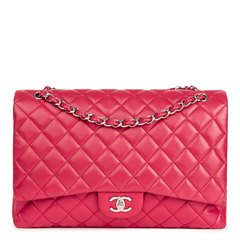 Chanel Fuchsia Quilted Lambskin Maxi Classic Single Flap Bag