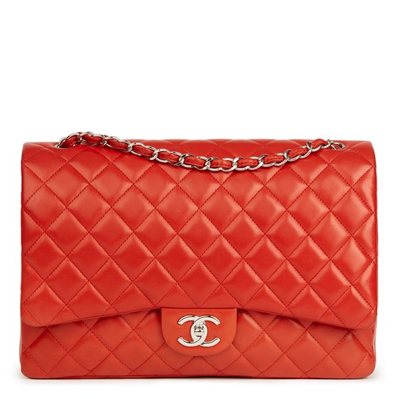 Chanel Orange Red Quilted Lambskin Maxi Classic Double Flap Bag