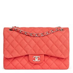 Chanel Pink Quilted Caviar Suede Leather Jumbo Classic Double Flap Bag