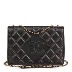 Chanel Black Quilted Lambskin Diamond CC Flap Bag