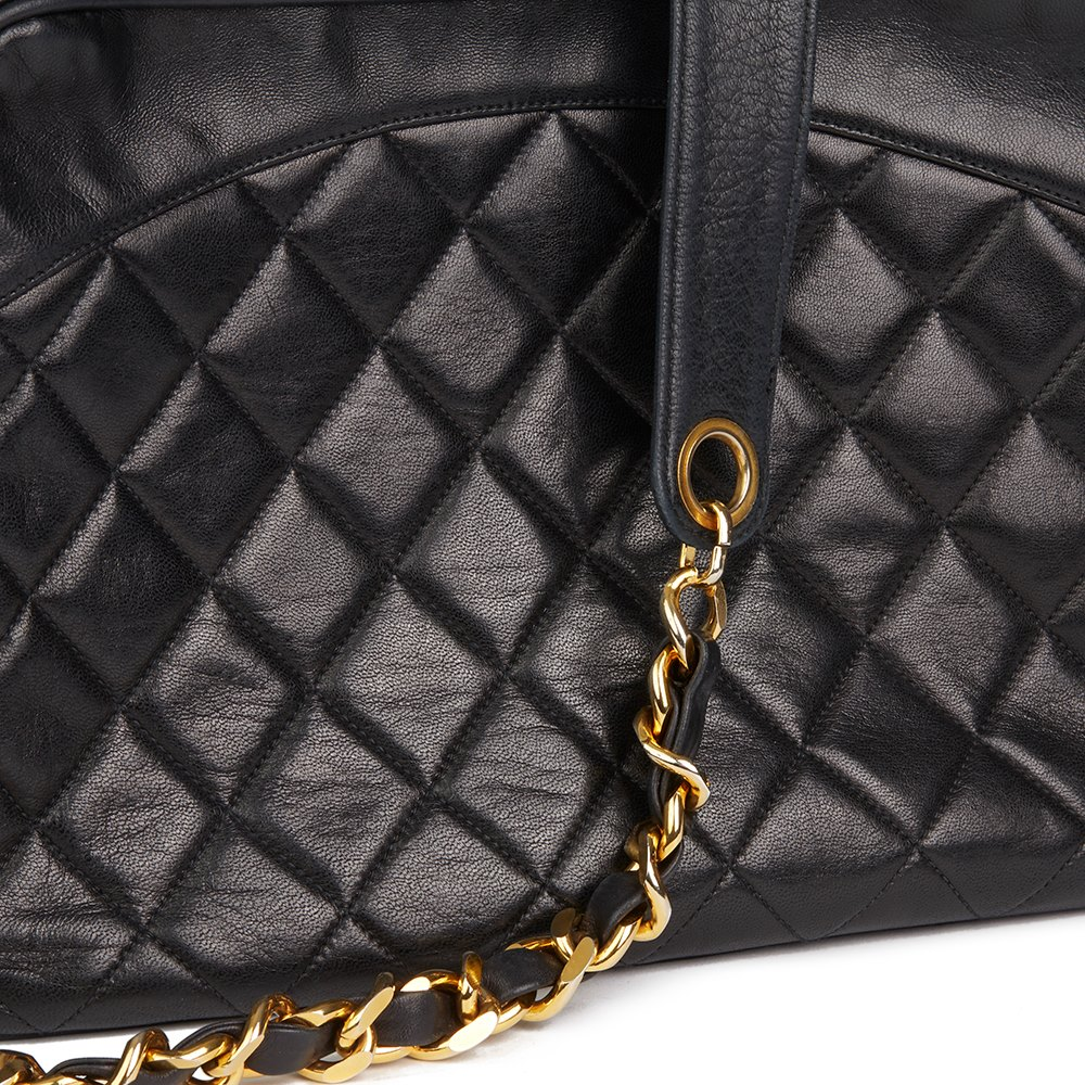 Chanel Black Quilted Lambskin Vintage Timeless Charm Camera Bag