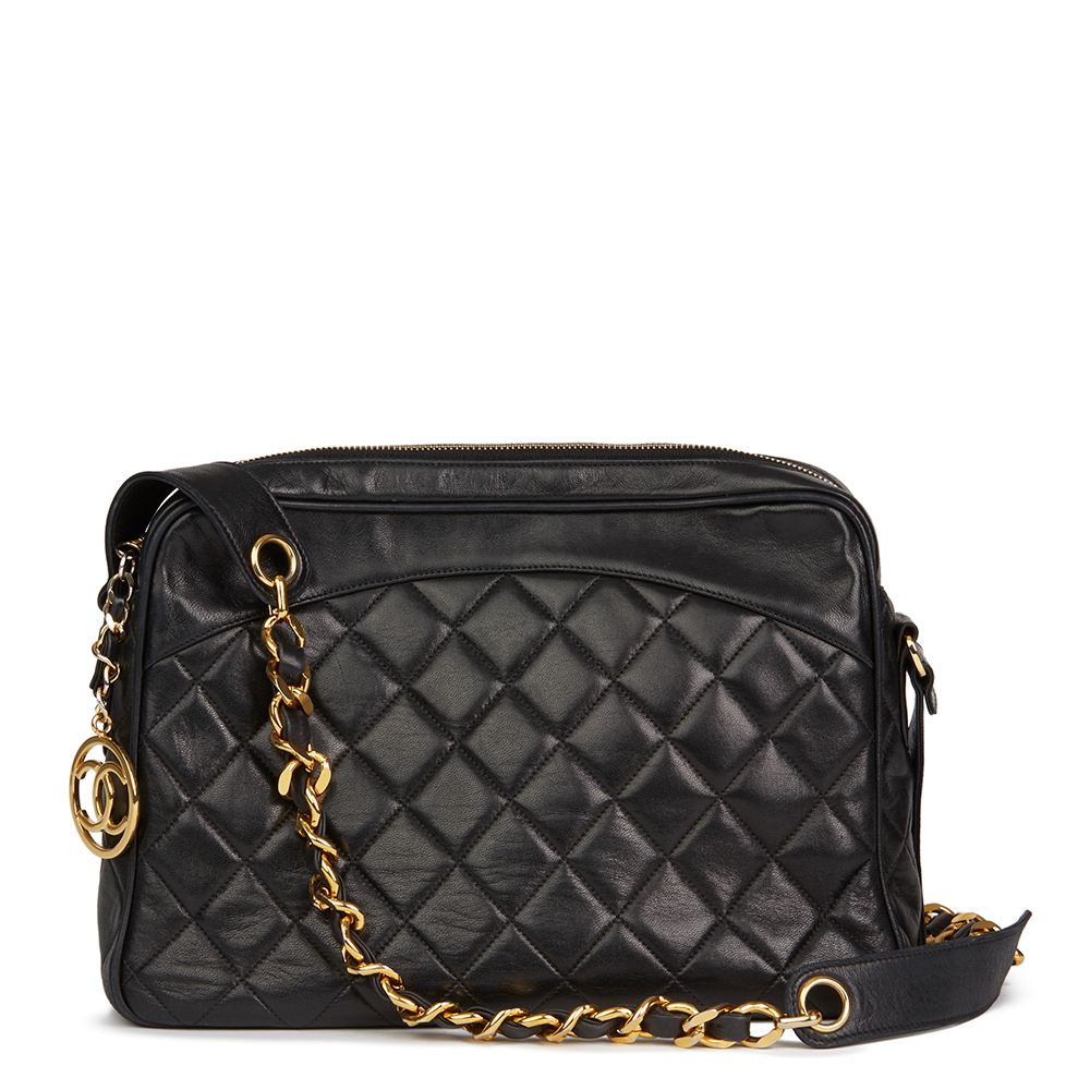 8b44a68c8f9a9 CHANEL BLACK QUILTED LAMBSKIN VINTAGE TIMELESS CHARM CAMERA BAG ...