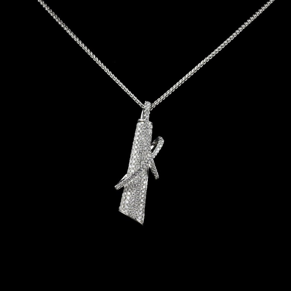 18k White Gold  18k White Gold Unusual Pave Diamond Pendant Necklace