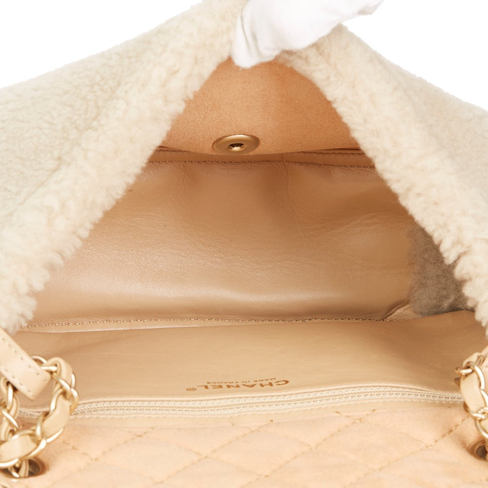 676d977f7e59 Chanel Light Beige Pearl Embellished Shearling & Quilted Lambskin Classic  Single Flap Bag