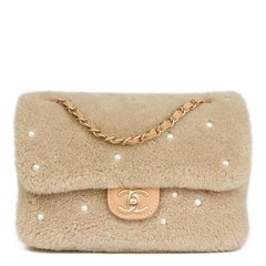 Chanel Light Beige Pearl Embellished Shearling & Quilted Lambskin Classic Single Flap Bag