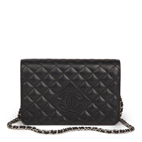 Chanel Black Quilted Lambskin Diamond CC Wallet-on-Chain