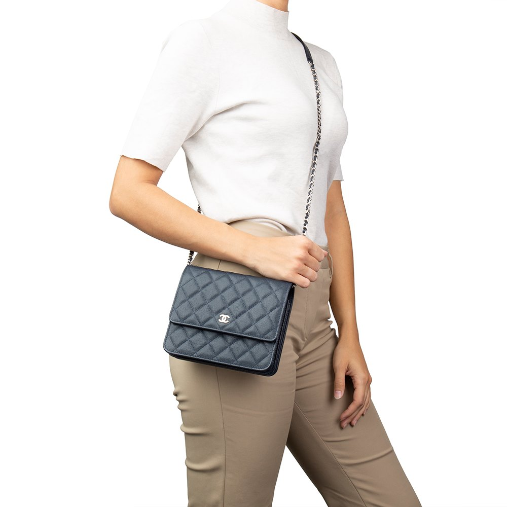 96ebd67545ed Chanel Navy Quilted Caviar Leather Square Wallet-on-Chain WOC