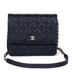 Chanel Navy Quilted Caviar Leather Square Wallet-on-Chain WOC
