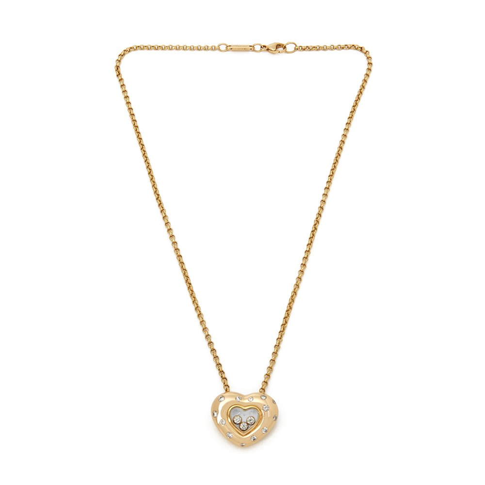 Chopard 18k Yellow Gold Happy Diamonds Spotted Diamond Heart Pendant Necklace