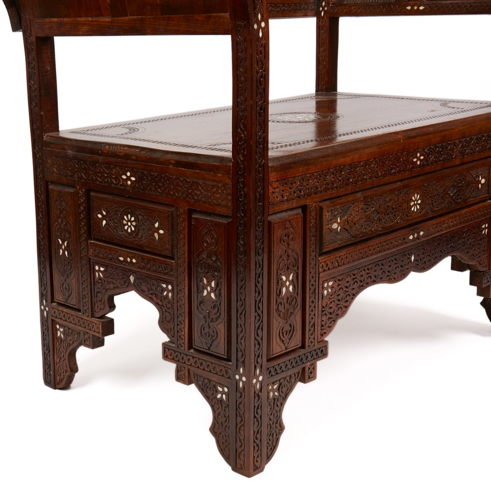 ANGLO-INDIAN CARVED & INLAID ARMCHAIR 19TH C Circa 19th Century
