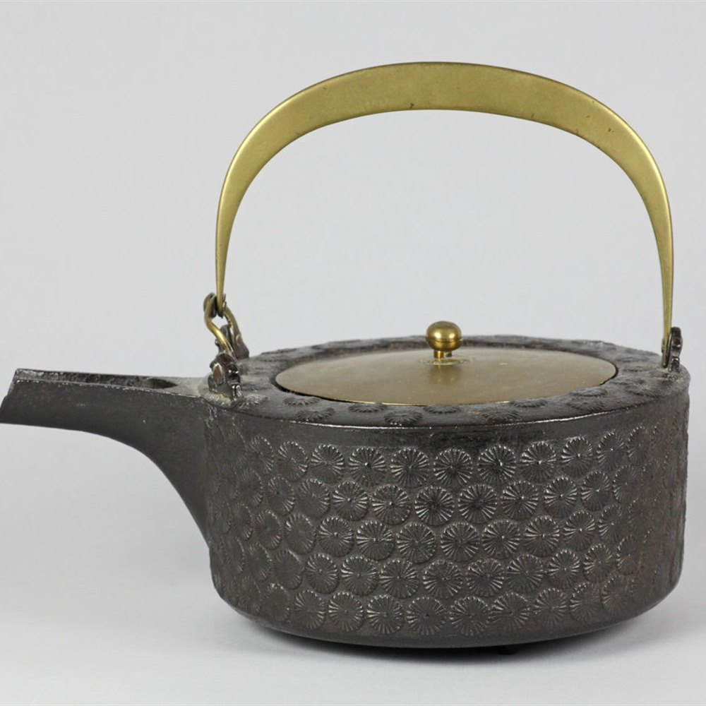 JAPANESE IRON TETSUBIN WITH KIKU 19th Century