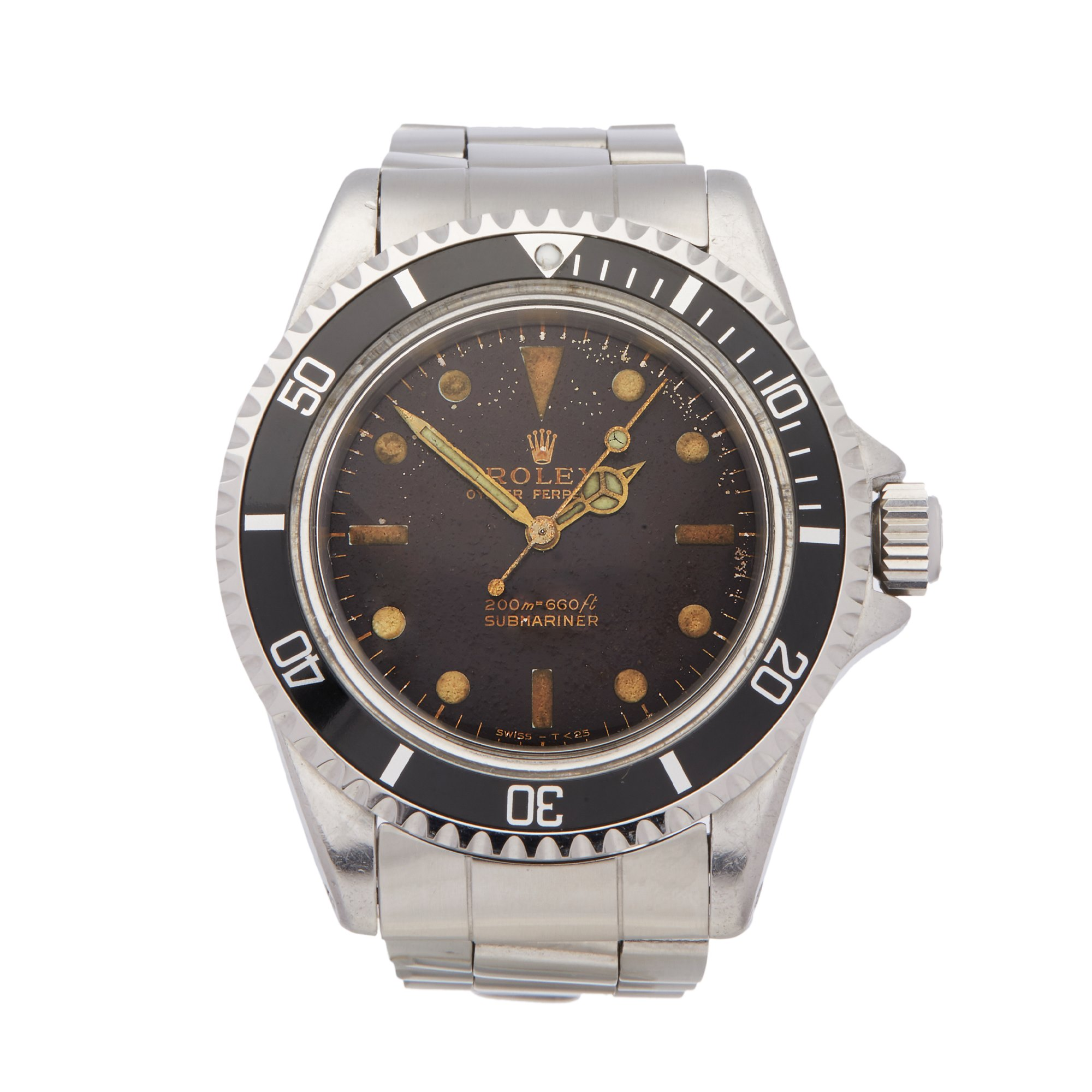 Rolex Submariner No Date Tropical Dial Gilt Gloss Meters First Stainless Steel 5513