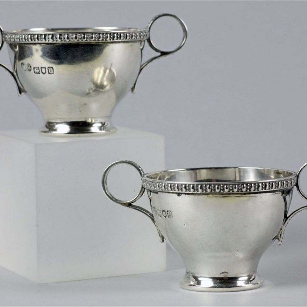 PAIR SILVER TWIN HANDLED SALTS Date code for 1915