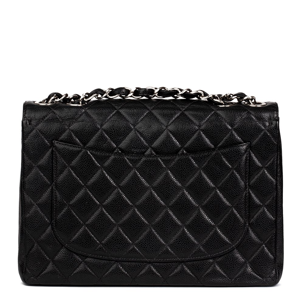 bed071f037ae Chanel Black Quilted Caviar Leather Classic Jumbo Flap Bag