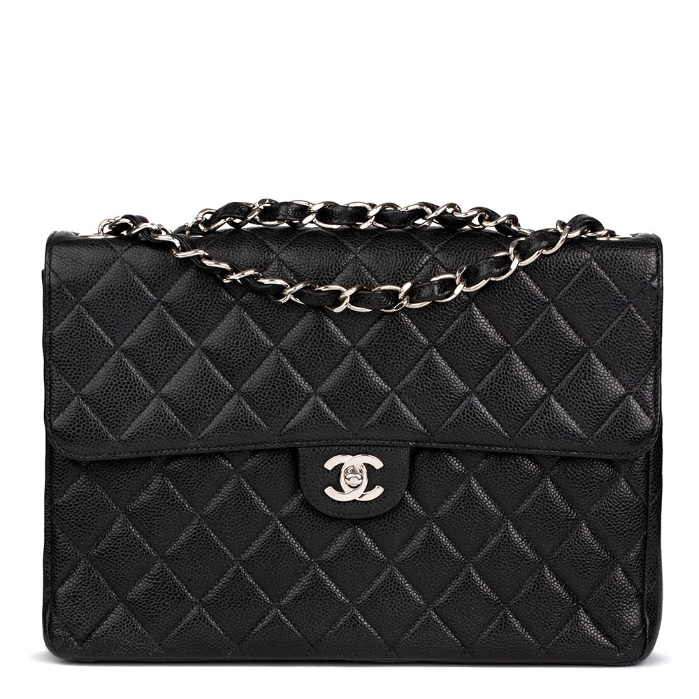 Chanel Black Quilted Caviar Leather Classic Jumbo Flap Bag