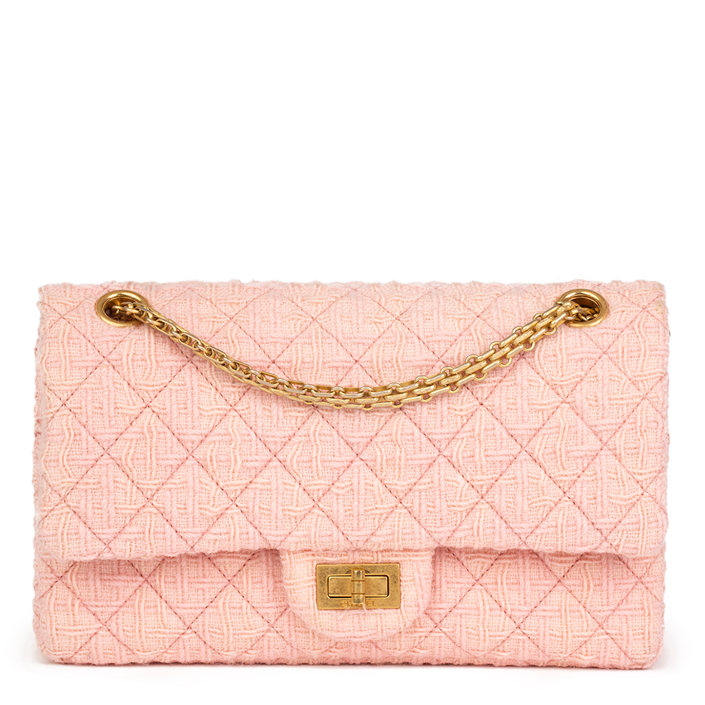 e919a04431c8 CHANEL PINK QUILTED TWEED 2.55 REISSUE 225 DOUBLE FLAP BAG HB2171