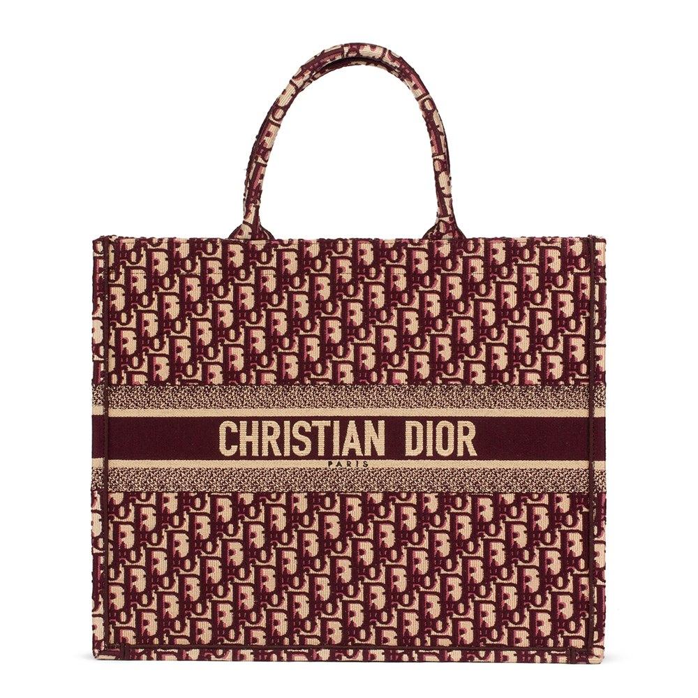 f5d9cc8e709b Christian Dior Red Oblique Monogram Canvas Book Tote