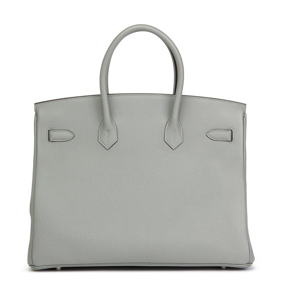 22cf3bf75e Hermès Gris Mouette   Blue Agate Togo Leather Verso Birkin 35cm