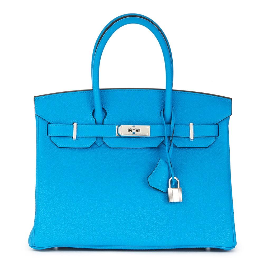 99a29340b40 Hermès Blue Zanzibar   Malachite Togo Leather Verso Birkin 30cm