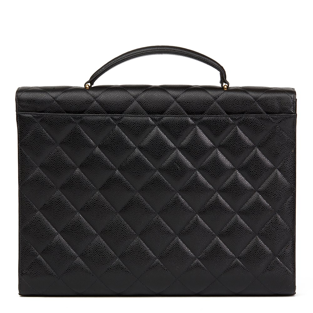 b69cf9388308 Chanel Black Quilted Caviar Leather Vintage Jumbo XL Classic Briefcase
