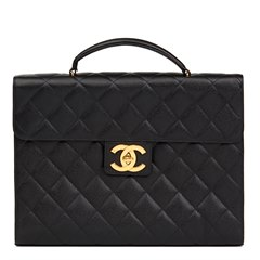 Chanel Black Quilted Caviar Leather Vintage Jumbo XL Classic Briefcase