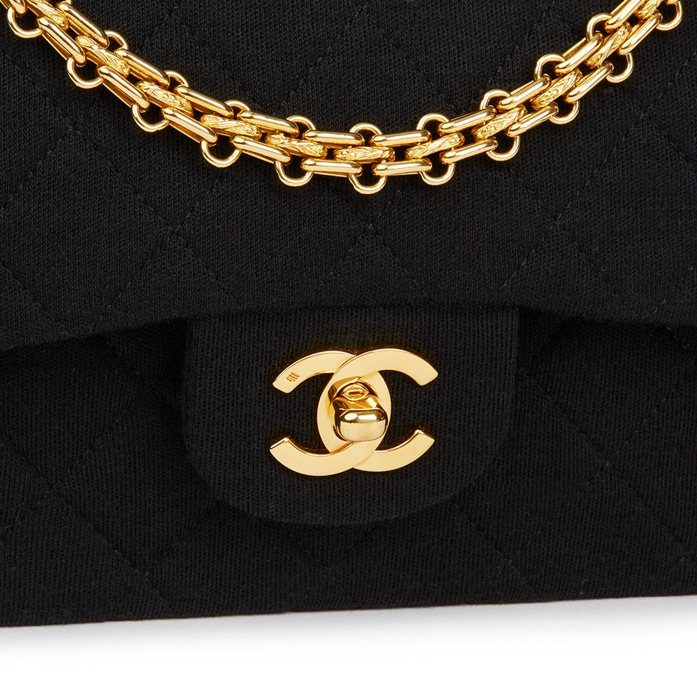 6dbb3668ff98 Chanel Black Quilted Jersey Fabric Vintage Small Classic Double Flap Bag