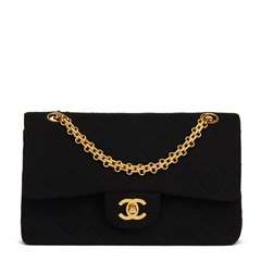 Chanel Black Quilted Jersey Fabric Vintage Small Classic Double Flap Bag