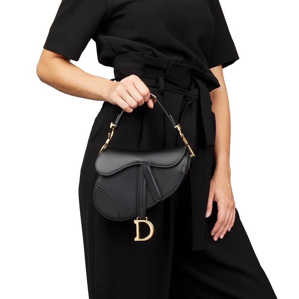 Christian Dior Black Calfskin Leather Mini Saddle Bag 7e33ea15e7b83