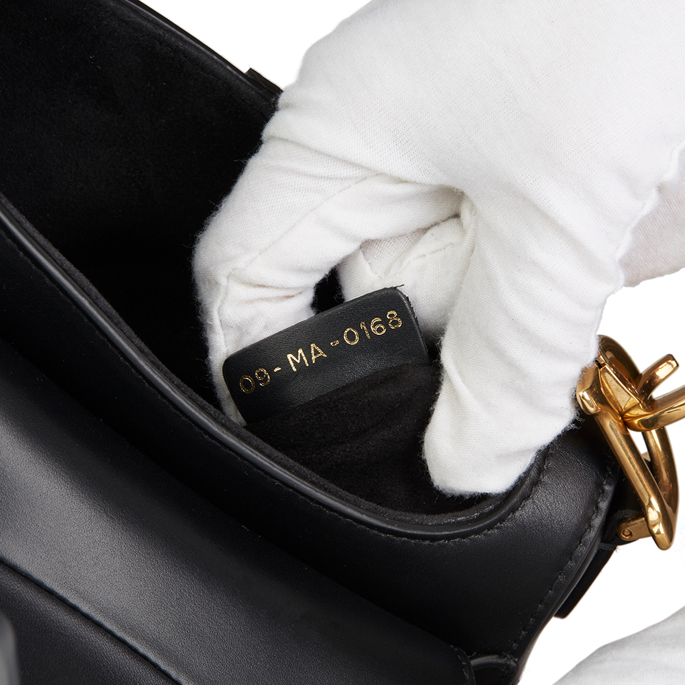 e36f6b926 CHRISTIAN DIOR BLACK CALFSKIN LEATHER MINI SADDLE BAG HB2182 | eBay